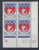 BLASON PARIS N° 1354B - Bloc De 4 COIN DATE - NEUF SANS CHARNIERE - 12/5/67 1 Point - 1960-1969