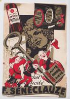 Carte à Système Découpis Publicité Vin Sénéclauze Algérie Oran Saint-Eugène 1949 Lutin Elfe Nain De Jardin Clef - Publicidad