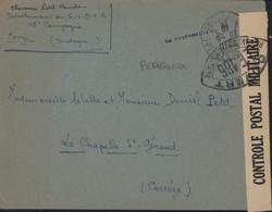 Guerre 40 FM CAD Je Pense Couze-et-Saint-Front Dordogne 25 8 40 Le Vaguemestre + Censure Bande + Cachet LE 166 Périgueux - WW II