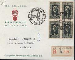 Recommandé Sidi Bel Abbés Légion étrangère Camerone 30 4 1950 Groupement Philatélique Bel Abbésien YT 283 Bloc De 4 - Storia Postale