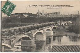 84 AVIGNON Vue D'ensemble De La Passerelle Provisoire Et Nouveau Pont En Construction Etat Des Travaux En 1909 - Avignon