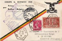 FRANCE : PA . SUR IMPRIMES . COUPE G. BENNET . DE PARIS . POUR VARSOVIE . 1936 . - Luftpost