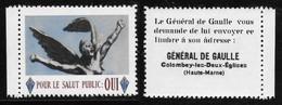 """VIGNETTE """"POUR LE SALUT PUBLIC:OUI"""" - GENERAL DE GAULLE - Otros"""