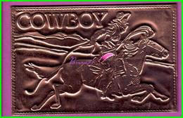 COWBOY - Western Scene - Carte Plaque Cuivre - COWBOY Cavalier Sur Cheval Horse - Salt Lake City Utah - Otros