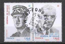 FRANCE 2020 - Timbre Diptyque - Général De Gaulle 1890 - 1970 Oblitéré Cachet Rond - Used Stamps