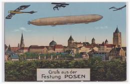 Motive Zeppelin (004679) Gruß Aus Der Festung Posen, Gelaufen Mit Feldpost Posen 1916 - Airships