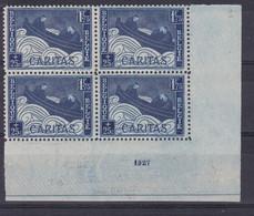 Belgique - COB 252 En Bloc De 4 - Griffe Sur Le Timbre Supérieur Gauche Indiquée Au Crayon Sur Le CDF - Unused Stamps