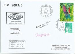 YT 3550 Colibri Grenat - Lettre Postée à Bord Du MD - Paquebot - Port Aux Français - Kerguelen - 12/11/2003 - Lettres & Documents