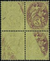 FRANCE VARIETES N°108 G Bloc De 4 Impression Recto-verso Partielle Qualité:** - 1900-29 Blanc