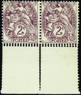 FRANCE VARIETES N°108 Paire Piquage Double. Qualité:** - 1900-29 Blanc