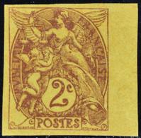 FRANCE VARIETES N°108 2c Blanc Papier GC Non Dentelé. Qualité:** - 1900-29 Blanc