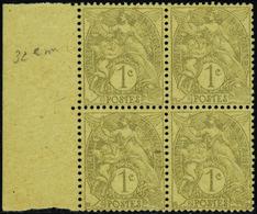 FRANCE VARIETES N°107 O Bloc De 4  3ex Type IA  1ex Type IB. Qualité:** - 1900-29 Blanc