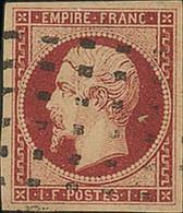 France 1853-61 1f. Carmine, Wonderfully Crisp Impression With Very Large Margins On All Sides - 1853-1860 Napoléon III