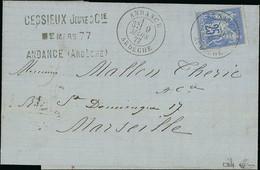 "France 1876-1900 Type ""Sage"" Issues 25c. Ultramarine On Greenish, Type II, - 1876-1878 Sage (Type I)"