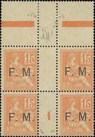 "France 1900-02 ""Mouchon"" Issue ""Franchise Militaire"" Issue 15c. Orange, Block Of Four - 1900-02 Mouchon"