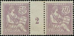 "France 1902 Redrawn ""Mouchon"" 30c. Pair Millésime ""2"", Unmounted Mint; Very Fine. - 1900-02 Mouchon"