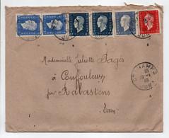 - Lettre ORCHAMPS (Jura) Pour COUFFOULEUX Par RABASTENS (Tarn) 28.1.1946 - Bel Affranchissement Marianne De Dulac - - Cartas