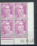 811 France Marianne De Gandon 10 F. Violet Coin Daté 30-10-1948 Luxe - 1945-54 Marianna Di Gandon