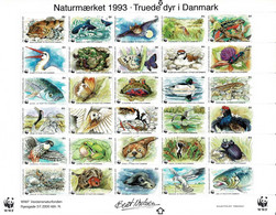 Denmark WWF 1993.  Sheet With 30 Labels;  Endangered Animals In Denmark; MNH(**). - Non Classificati