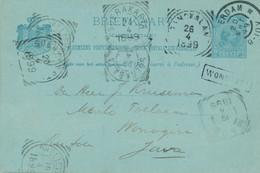 Nederlands Indië - 1899 - Zwerf Briefkaart Van Rotterdam Naar L WONOGIRI - 7 Stempels - Netherlands Indies