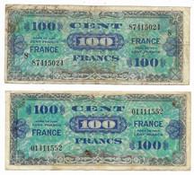 2 Billets 100 Cent/Francs Différents...Emissions Alliés 1944... Verso FRANCE... Etat Moyen - 1944 Flag/France