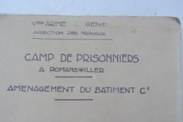 Plan D'un Bâtiment Pour Prisonniers De Guerre Allemand à Romanswiller Alsace En Mai 1940 - 1939-45