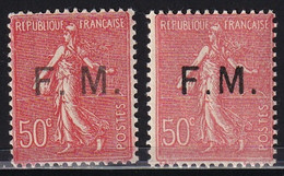 """France 1929 Franchise Militaire YT FM6c - Semeuse Lignée 50c - """"M"""" Rapproché Case 100) - (Maury FM6b) Neuf** Cote: 45€ - Militaire Zegels (zonder Portkosten)"""