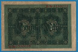 DEUTSCHES REICH 50 Mark 05.08.1914 Série H # 3330035  P# 49b DARLEHENSKASSENSCHEIN - 50 Mark