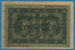 DEUTSCHES REICH 50 Mark 05.08.1914 Série K # 1755482  P# 49b DARLEHENSKASSENSCHEIN - 50 Mark