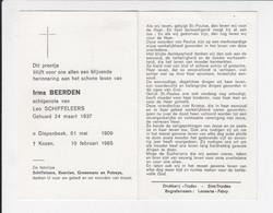 2 X Doodsprentje - Irma Beerden - Diepenbeek 1909 / Kozen 1985 / Zuster Juliette Vandenrijd - Diepenbeek 1907 / Genk - Todesanzeige