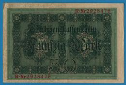 DEUTSCHES REICH 50 Mark 05.08.1914 Série R # 2928476   P# 49b DARLEHENSKASSENSCHEIN - 50 Mark