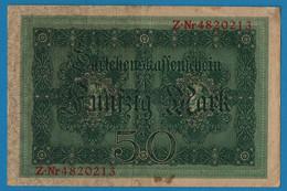 DEUTSCHES REICH 50 Mark 05.08.1914 Série Z # 4820213  P# 49b DARLEHENSKASSENSCHEIN - 50 Mark