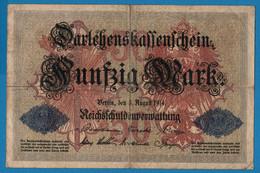 DEUTSCHES REICH 50 Mark 05.08.1914 Série W # 975924  P# 49a DARLEHENSKASSENSCHEIN - 50 Mark