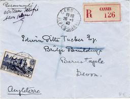 5F Carcassonne LR Cannes Pour L'Angleterre 26 1 1940 Mention Contenu Vérifié Sans Valeur - 1921-1960: Modern Period