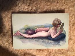 Illustrateur Maurice Milliere, Sourires De Paris Femme Allongée Nue Miroir - Milliere