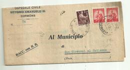 """10613""""OSPEDALE CIVILE VITTORIO EMANUELE III-CORMONS-CONTABILITA' DEL CREDITO VERSO COMUNE DI S.GIOVANNI AL NATISONE-1948 - Italy"""