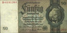 German Empire Rosenbg: 175a, Udr.-Bst.: E, Series: A-P, KN 7-stellig Used (III) 1933 50 Reichsmark - 50 Reichsmark