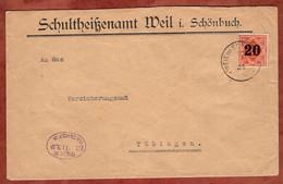 Dienstbrief, Ziffer Mit Aufdruck, Gemeinde Weil Im Schoenbuch, Nach Tuebingen 1921 (99443) - Wurttemberg