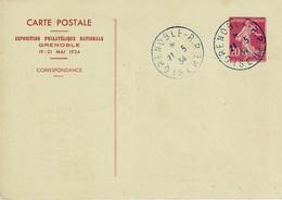 EP CARTE POSTALE REPIQUEE EXPO GRENOBL E 1934  20 C SEMEUSE   Type 139 CP 2 - Newspaper Bands
