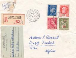 LR La Capelle Biron 2 9 42 Pr L'Algérie étiquette Douane Envoi De Timbres Et Mention 'Vu Contenu Au Guichet' Taxe Oran - 1921-1960: Modern Period