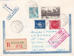 LR AVION La Capelle Biron 25 3 42 Pr L'Algérie étiquette Douane Envoi De Timbres Et Admis En Franchise à Oran - 1921-1960: Modern Period