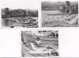 3 Photos De Collioure Dans Les Années 60 , Bord De Mer , Barque - Places