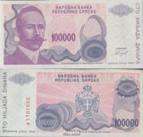 Bosnien-Herzegowina Pick-Nr: 154a Bankfrisch 1993 100.000 Dinara - Bosnie-Herzegovine