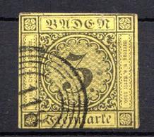 BADE - (Grand-Duché) - 1851-52 - N° 2 - 3 K. Jaune Clair - (Noir Sur Couleur) - Baden