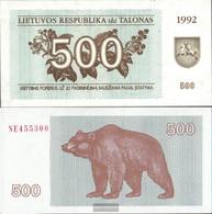Lithuania Pick-number: 44 Uncirculated 1992 500 Talonas - Lituania