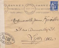 PAIX 90C SUR LETTRE CANNES 16/11/39 CACHETS OUVERT PAR L AUTORITE MILITAIRE +CONTROLE POSTAL POUR LYON - 1921-1960: Periodo Moderno