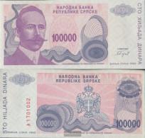 Bosnia-Herzegovina Pick-number: 154a Uncirculated 1993 100.000 Dinara - Bosnie-Herzegovine