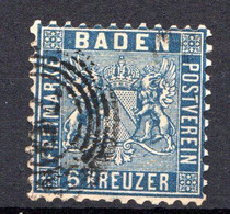 BADE - (Grand-Duché) - 1862 - N° 14 - 6 K. Bleu - (Dentelé 10) - Baden