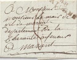 """1808 - LAC DE VALOGNE POUR MARANS EN PORT DU MP """"48/VALOGNE"""" 42x11  Taxe 8 - 1801-1848: Vorläufer XIX"""