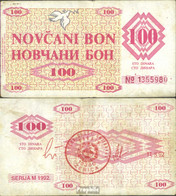 Bosnien-Herzegowina Pick-Nr: 6g Gebraucht (III) 1992 100 Dinara - Bosnie-Herzegovine